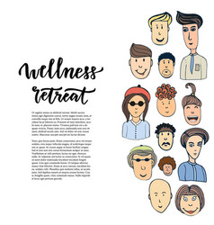 Doodle sketched people and lettering - wellness vector