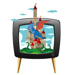 Dragon and castle on television screen vector image