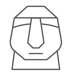 Easter island stone moais thin line icon easter vector