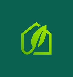 eco leaves house logo icon design template vector image