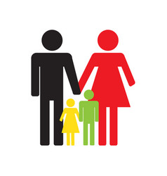 family icons on a white background flat design vector image