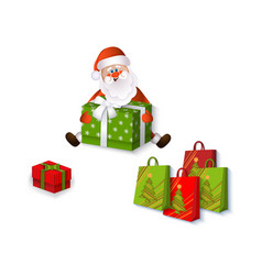 flat santa claus sitting with presents vector image