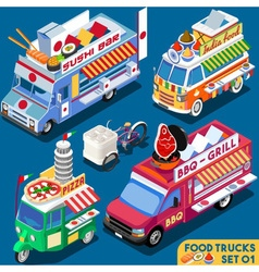 Food Truck Set01 Vehicle Isometric vector