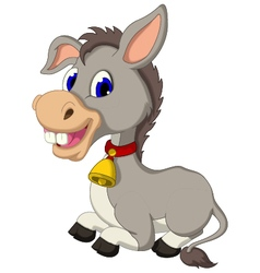 Funny donkey cartoon sitting vector
