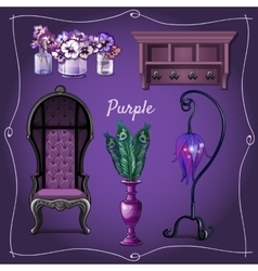 Furniture and interior decoration with purpele vector