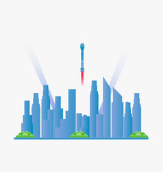 Future city landscape with skyscrapers vector