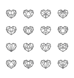 Geometric polygon hearts vector