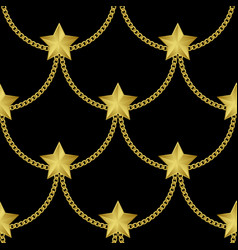 golden chains and stars fashion seamless pattern vector image