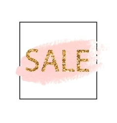 Golden Sale lettering in frame Pastel pink vector image