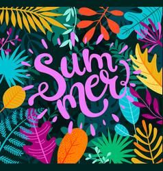 greeting summer 2019 lettering on tropical leaves vector image