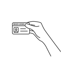 Hand holding thin line driver license vector