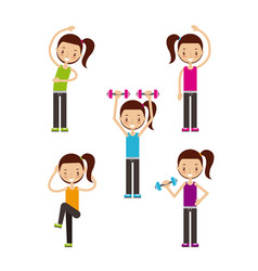 happy fitness people image vector image