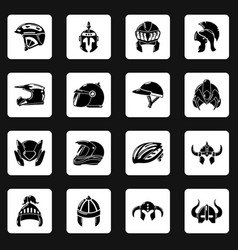 Helmet icons set simple style vector