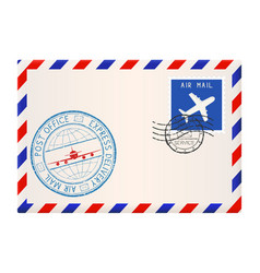 International mail envelope with express delivery vector