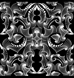 Intricate black and white line art tracery vector