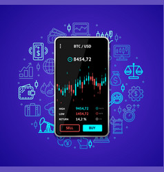 investment trading mobile concept with realistic vector image