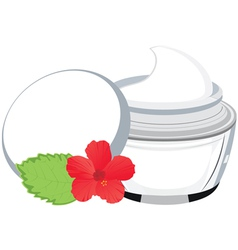 jar with cream hibiscus vector image