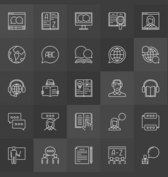 Learning a foreign language icons vector
