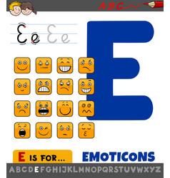 Letter e worksheet with cartoon emoticons vector