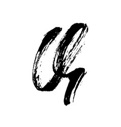 Letter q handwritten by dry brush rough strokes vector