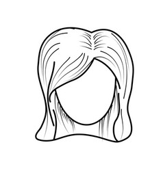 Line cute woman face with hairstyle vector