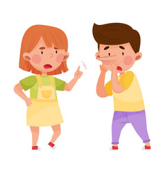 Little boy telling lie to his agemate girl vector