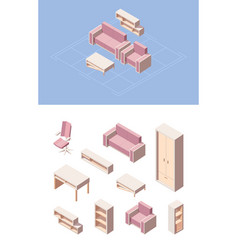 Living room furniture isometric set pink folding vector