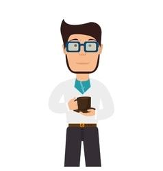 man cartoon drink coffee mug vector image