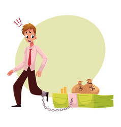 Man with leg chained to bundle banknotes money vector