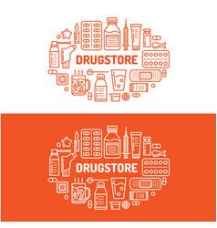 medical drugstore banner pharmacy vector image