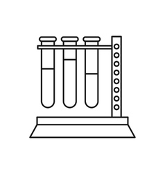 Medical test tubes in holder icon outline style vector image