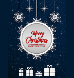 merry christmas and happy new year 2019 on blue na vector image