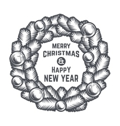 Merry Christmas wreath design Vintage vector image