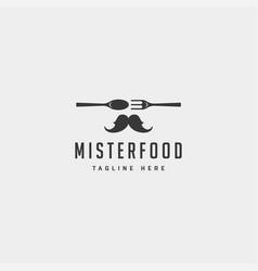 mister food flat simple logo design icon element vector image