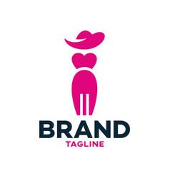 Modern fork woman logo vector