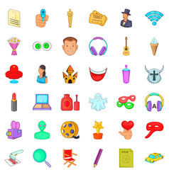 Movie icons set cartoon style vector