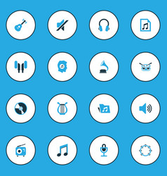 Music colorful icons set collection of headphone vector
