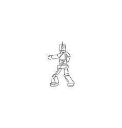 One continuous line drawing smart robot vector