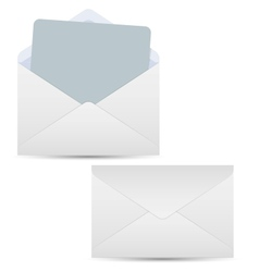 Open and closed white envelopes vector