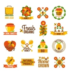 Organic Natural Honey Label Set vector