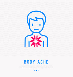 pain in chest thin line icon vector image
