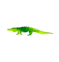 paper cut crocodile safari animals shape 3d vector image