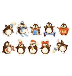penguins wearing winter warm clothes set vector image