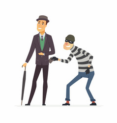 Pickpocket stealing wallet - cartoon people vector