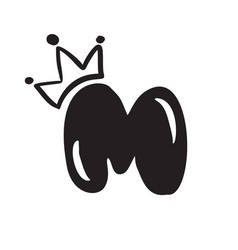plump vintage cute letter m with crown vector image