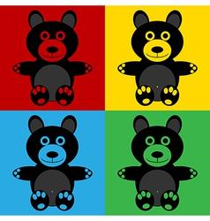 Pop art bear icons vector