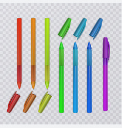 Realistic pens with rainbow colors vector