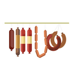 sausages meat counter display or butcher shop vector image