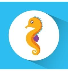 Sea horse cartoon over circle icon graphic vector