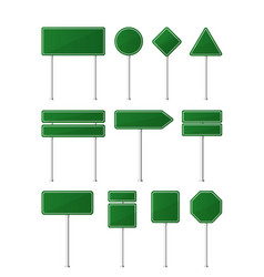 set green color road signs vector image